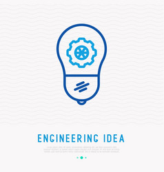 Engineering idea concept light bulb with wheel vector