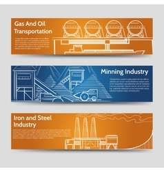 Factory industrial landscape horizontal banners vector