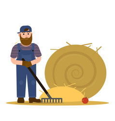 Farmer redneck with beard in overalls and baseball vector
