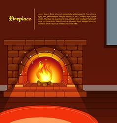 Fireplace image in room vector
