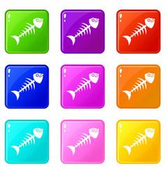 fish bone icons 9 set vector image