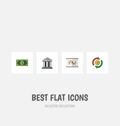 flat icon finance set of bank greenback vector image