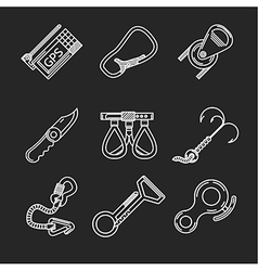Flat line icons for rock climbing vector image