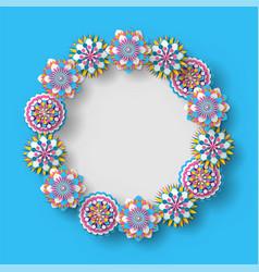 flower frame empty banner rounded shape vector image