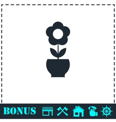 Flower pot icon flat vector