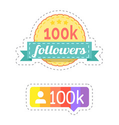 follower and rainbow ribbon with profile vector image
