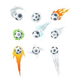 football or soccer balls with motion trails vector image