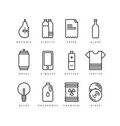 Garbage waste reduce reuse recycle icons vector