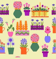Garden decorative plants growing in pots vector