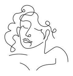 Girl with closed eyes outline portrait or avatar vector