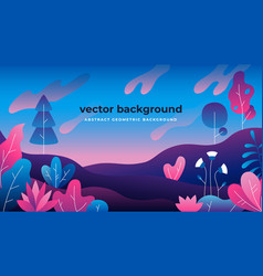 gradient plant landscape flat jungle spring trees vector image
