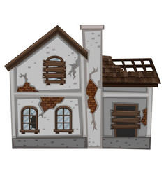 Gray house with ruined walls vector