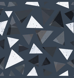gray triangle seamless pattern with grunge effect vector image