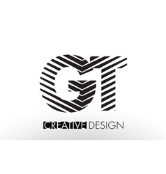 Gt g t lines letter design with creative elegant vector