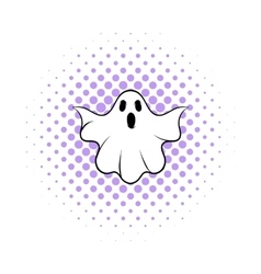 Halloween ghost icon comics style vector image