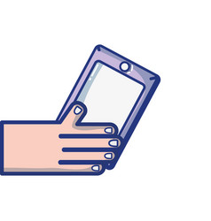 hand with smartphone technology object design vector image