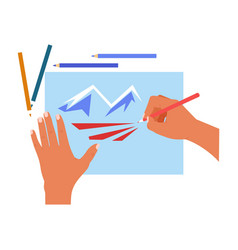 hands drawing pencils and paper sheet mountains vector image