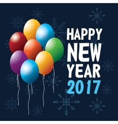 happy new year 2017 greeting card flying balloons vector image