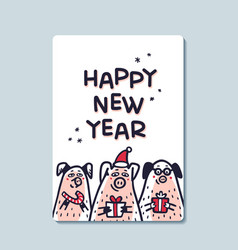 happy new year pig greeting card funny pigs with vector image
