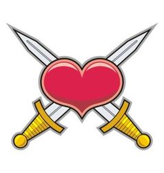 Heart and swords vector image