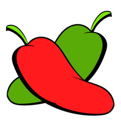 hot chili peppers icon cartoon vector image