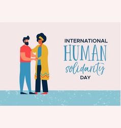 human solidarity day card of woman helping man vector image