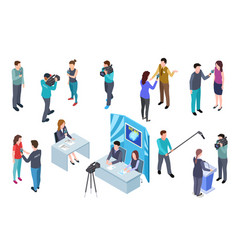 journalist isometric camera man tv crew studio vector image
