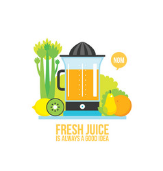 Juicer fresh vegetables greens and fruits on vector