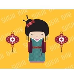 Kokeshi doll in kimono with traditional asian vector