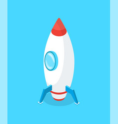 Launching rocket business start up idea isolated vector
