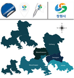 map of changwon with districts south korea vector image