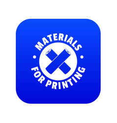Materials for printing icon blue vector