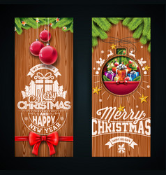 merry christmas banner design with glass ball vector image