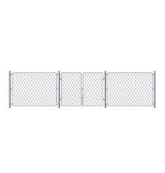 Metal enclosure with wire or police fence wired vector