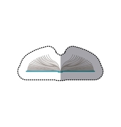 middle shadow color sticker with open book vector image