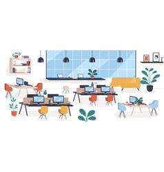 Modern mid century office open space comfy vector