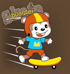 Monkey skateboarder cartoon vector