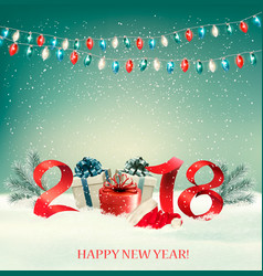 New year background with gift boxes and colorful vector