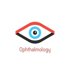 Ophthalmology logotype with eye from ribbons vector