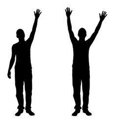 People with hands in the air vector
