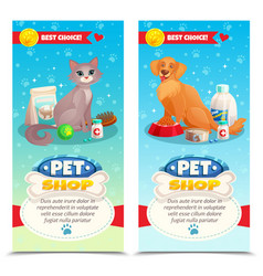 Pet shop vertical banners vector