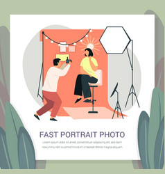 photographer at fast portrait photoshoot for woman vector image