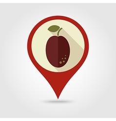Plum flat pin map icon Fruit vector image