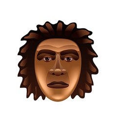 Prehistoric man face isolated on white vector