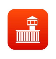 prison tower icon digital red vector image