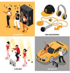 Rap music 2x2 design concept vector