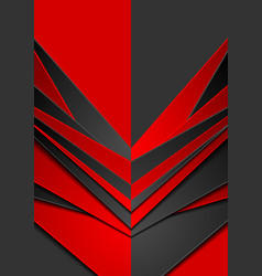 Red and black abstract tech arrows contrast vector