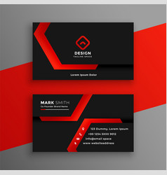 red and black geometric business card template vector image