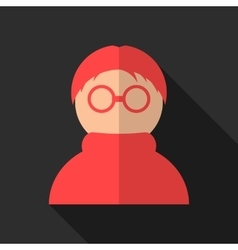 red anonymous icon with long shadow vector image
