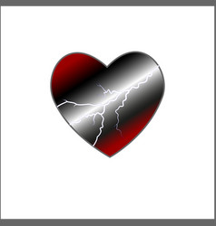 red heart surrounded by a flow of energy storm vector image